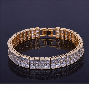 Fashion 2 Row CZ Stone Men's Square Tennis Bracelet Hip hop Jewelry 10mm Cubic Zircon Copper Material Gold Silver For Gift