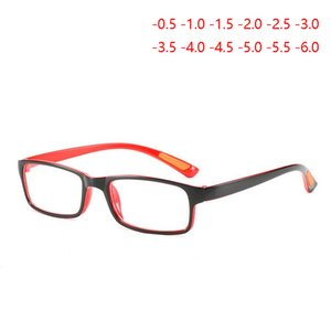 Ultra-light TR90 Square Myopia Glasses With Degree Women Men Student Prescription Eyeglasses Black-Red Frame -0.5 -1.0 To -6.0