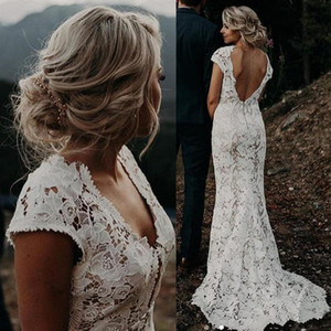 Bohemian Lace Wedding Dresses Country Style Deep V Neck Mermaid Bridal Gowns Cap Sleeve Backless Robes De Mariee Plus Size