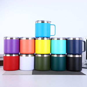 14 oz stainless steel Cup Vacuum Double layer Beer Mugs Insulated 14oz Cups With handle 11-Colors by free shipping Quality coffee cup