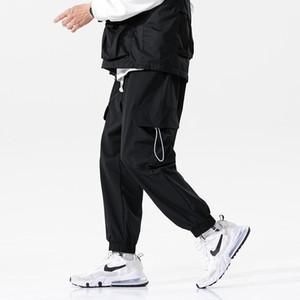 2020 Solid Color Loose Men's Pants Streetwear Hip Hop Track Ribbons Sweatpants Casual Trousers Ankle-Length Pants