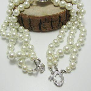 Neue Ankunft 3 Schichten Pearl Orbit Halskette Frauen Strass Satellitenplaneten Halskette für Geschenkparty Hohe Qualität