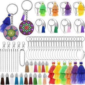 Acrylic DIY Keychain Blanks, 105 PCS Clear Transparent Circle Discs Keychain Blanks 3-Layers Colorful Tassel