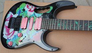 RARE 24 Frets 7 Fleur Motif Guitare électrique noire Tree Of Life Fretboard Inlay, Floyd Rose Tremolo Bridge, matériel noir, rose # Choisissez Iw2x