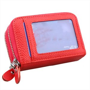 Genuine Leather Mini Credit Card Case Organizer Compact Cardholder Wallet 587 30 Extendable Women Zipper Credit Card Holder