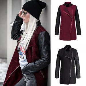 Winter and winter splicing side zipper in the long coat, jacket trench coat