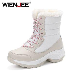 Wienjee Nuevo invierno 2020 zapatos de altura zapatos de lona de felpa Versión coreana de las mujeres Botas de algodón cálido Invierno