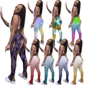 El teñido anudado para mujer apiladas pantalones casuales de la llamarada de Split diseñador de las mujeres pantalones delgados manera de las señoras Stacked legging los pantalones de colores múltiples
