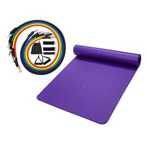 11pcs Йога Resistance Bands Set Home Gym Упражнение Kit и Yoga Mat Подушка