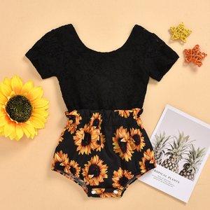 Nouveau-né bébé 0-24M coton couleur noire d'été à manches courtes Tournesol Romper mode enfants salopette