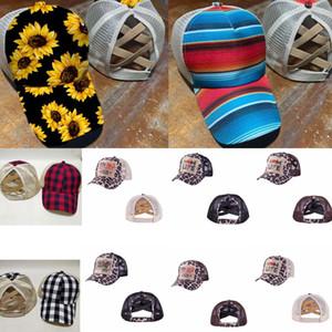 Criss Çapraz Yüksek at kuyruğu Şapka Ayçiçeği Beyzbol şapkası Dağınık Buns Trucker Ekose Leopar Şapka Snapback Trump Mesh Şapka GGA3580 Caps Yıkanmış