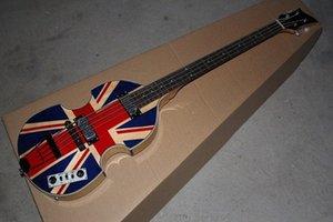 McCartney Hofner H500 / 1 CT Çağdaş Keman Deluxe Bass İngiltere Bayrağı Elektro Gitar Alev Maple Top Geri 2 511B Zımba Pikaplar voXb #