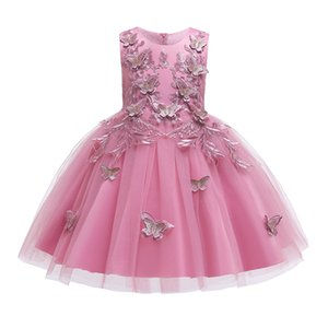 2020 Lace Sequins Formal Evening Wedding Gown Tutu Princess Dress Flower Girls Children Clothing Kids Party Dress for Girl Clothes dhl