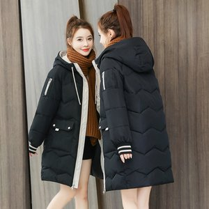 Winter Women Parkas Jackets Fashion Hooded Mid-length Down Cotton Coats Female Thick Warm Parkas Big Pocket Parkas outwear