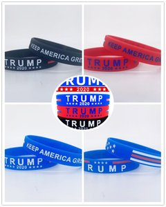 300pc Lot Trump Bracelet Thin Blue Line American Flag Bracelets Silicone Wristband Soft And Flexible Great For Normal Day Party gifts A2144