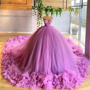 Princess Ball Gown Prom Dresses With Exposed Boning Ruffle Evening Dress Long Puffy Bottom Girls Pageant Gowns Custom Made