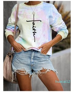 Hot Sale Famale Pullover Clothes Women Letter Loose Hoodies Tie Dye Long Sleeve Crew Neck Casual Sweatshirts