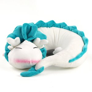 Creative Chinese White Dragon Plush Toys Cute Animal Travel Car Neck Pillow U Shape Plush Stuffed Cushion Toy For Kids