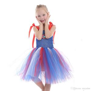2020 платья принцессы Christmas Party Дети одеваются Девушки Light Blue рукава Церемониального платье Halloween