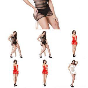 xpjJu Negro camisón atractivo de malla de rayas falda de la liga falda atractiva perspectiva pijamas Sling W094 pijamas cortos Short