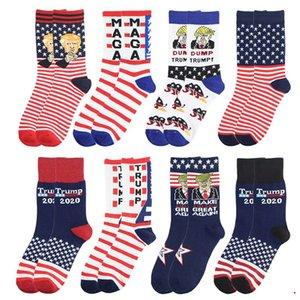 9 tarzı Kadınlar Erkekler Unisex Topuklu Pamuk Çorap 2020 Trump Kişiselleştirilmiş Mektuplar Günlük Spor Çorap Amerikan Bayrağı Çizgili Çorap DHA1198