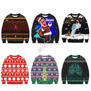 58 Colors Christmas Hoodies Cartoon Santa Claus Dogs Printed Sweatshirts Long Sleeve Pullover Autumn Winter Sweater Xmas Clothes M-2XL D9303