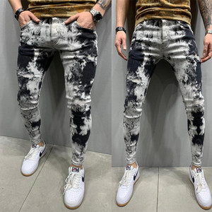 Mens Gradient Stretch Jeans High Waist Slim Fit Street Wear Homme Skateboard Pencil Pants