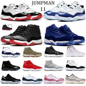 Retro 11 11S جديدة منخفضة أسطورة الأزرق الوفاق الأبيض 45 لدت أحذية كرة السلة للرجال معدني الذهب الحريرالأردنالرجعية XI رياضة المرأة أحذية رياضية 36-47