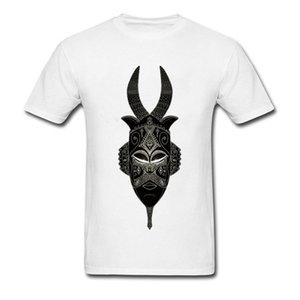 Última cuernos tribal de la máscara de la camiseta para los hombres O-Cuello Design Plus Tamaño único 100% algodón Mans camiseta blanca envío de la gota