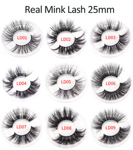 tamax ELR002 Wholesale 25mm 3D reaL Mink hair Eyelashes 5D super long Mink Lashes Packing In Tray good quality hand made