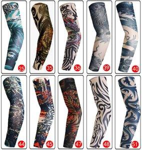 Men Boy Outdoor Sports Seamless Nylon Tattoo Sleeves Printing Elastic Breathable Skins Fake Tattoo Arm Warmer Protective Sleeves DH0706