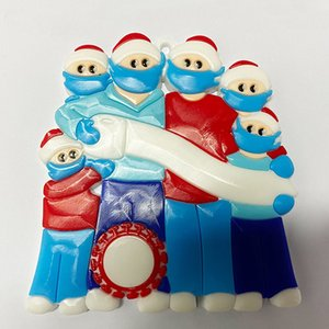 2020 DIY Name Blessings 3D Snowman Christmas Tree Hanging Pendant PVC Spot Mask New Christmas Decorations Santa Claus fast ship OOA9684
