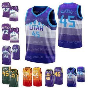 Donovan hombres de Utah45 Mitchell nueva camisetas de Rudy Gobert 27 Hombres camiseta Karl Malone 32 Juan 12 Stockton Jazzsjersey