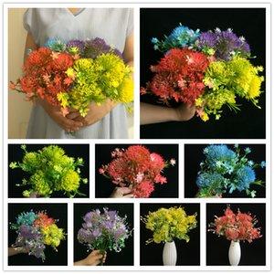 weicher Kunststoff Löwenzahn Blume fünf Köpfe / Bündel alliums künstliche Blumen Gefälschte Hortensien 4 Farben Plastikblumen