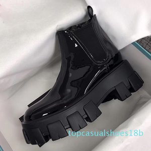 qHot 2019 Designer women Shoes Fashion British Boots Round Toe Martin Boots Patent leather Thick bottom Toes Perfect Official Quality 18t