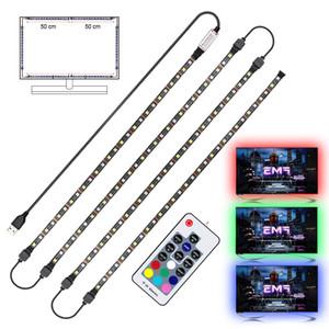 USB LED قطاع RGB + الأبيض مع RF حدة تحكم عن بعد IP20 / IP65 الخفيفة قطاع مرنة 5050 RGBW RGBWW TV Lightgting الخلفية