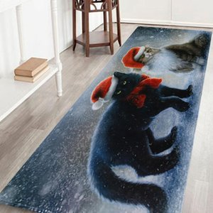 Merry Christmas Welcome Doormats Indoor Home Carpets Decor 40x120CM Santa Rug Coral Velvet Home carpet pad alfombras dormitorio