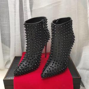 Las mujeres RedBottom zapatos de las mujeres del tamaño grande atractivo completo los pernos prisioneros de los estiletes fina de los altos talones del dedo del pie puntiagudo Negro de cuero verdadero 35-41 cargadores del tobillo