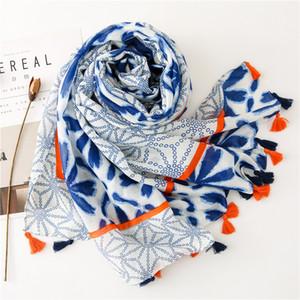 automne femmes KYQIAO mode hiver de frais de style coréen tête long motif floral bleu enveloppements écharpe châle