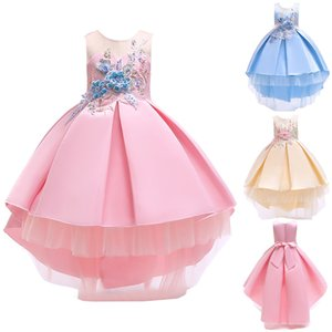 Clearance Excelent New Dress Mesh Girls Floral Baby Girl Princess Bridesmaid Pageant Gown Birthday Party Wedding Dress Z0205