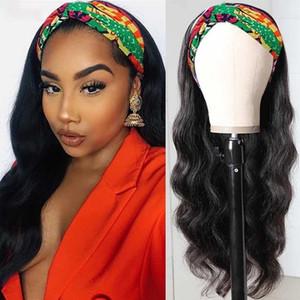 Vücut Dalga İnsan Saç Peruk Tam Sonu Kafa İçin Siyah Kadınlar peruk Makine Halısı İnsan saçı headbands perukları