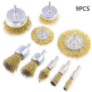 Messing beschichteter Draht Drill Pinsel Praktische mit 1/4 Zoll Schaft 9 Grössen Draht Drill-Bürsten-Sätze für Rostschutzfarbe Entrosten Polieren