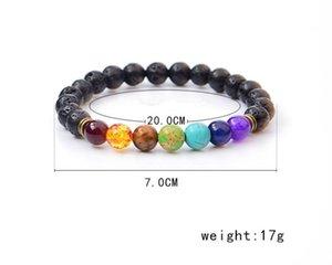 Black Lava Stone Bracelets 7 Reiki Chakra Healing Balance Beads Bracelet for Men Women Stretch Yoga Jewelry