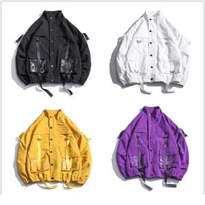 Les hommes Streetwear Mulit poches Rubans Veste coupe-vent Harajuku Hip Hop Noir Violet Vestes Hipster Cargo Outwear Manteaux