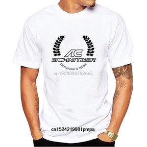 شنيتزر AC شعار مطبوعة الجرافيك الرجال عادية قصيرة الأكمام تي شيرت أبيض حجم S-4XL