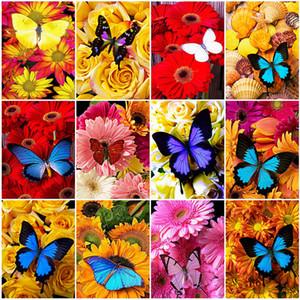 Kunst Wand 5D DIY Diamant-Malerei Schmetterling und Blume in voller quadratischen Rhinestone-Diamant-Stickerei-Mosaik-Kreuz-Stich-Home Decor