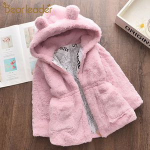 Bear Leader Girls Coats 2020 New Winter Fashion Ears Faux Fur Jackets Hooded Thickness Kids Suit Fashion Clothes for 2 7Y