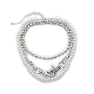 5Sets Lot European Multi Layer Double Button Beaded Chain Street Fashion Imitation Pearl Chokers Women Party Necklace Jewelry Accessories