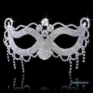Hanzi_masks Luxury Элегантный Алмазный Rhinestone маска Sexy Hallowmas венецианская маска Bauta Half Face Party танца Маска Маскарад косплей Decor