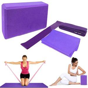 4pcs Yoga Yoga Jeu d'équipement Blocs stretching Résistance Sangle boucle de bande exercice Band Mat Bloc étirement